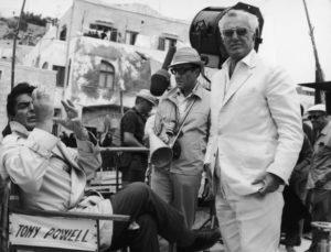 vittorio de sica peter sellers e tony powell a ischia sul set di caccia alla volpe 16-luglio 1965
