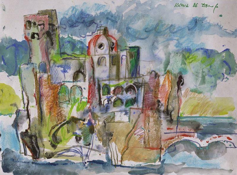 paesaggi-di-ischia-acquerello-realizzato-da-dario-fo-1986