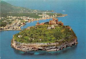 Ischia, Castello Aragonese dall'alto negli anni 70