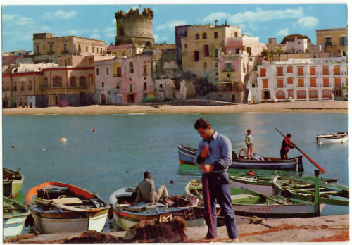 Forio porto pescatori anni 60 foto antica