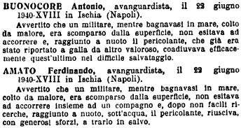 Gazzetta Ufficiale 1942 bronzo al valor civile Ischia